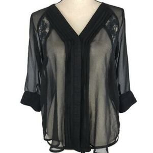 Hive & Honey Sheer Button Up Pleated Black Blouse